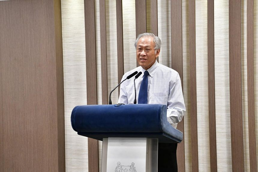 Minister for Defence Ng Eng Hen delivering a speech during the Defence Scholarship Awards Ceremony on July 29, 2020.