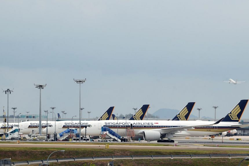 Planes from the Singapore Airlines at Changi Airport on March 20, 2020.