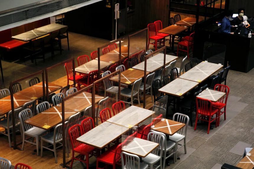 Eateries can run at half capacity, with each table capped at two diners, while the 1.5m rule between tables still applies.