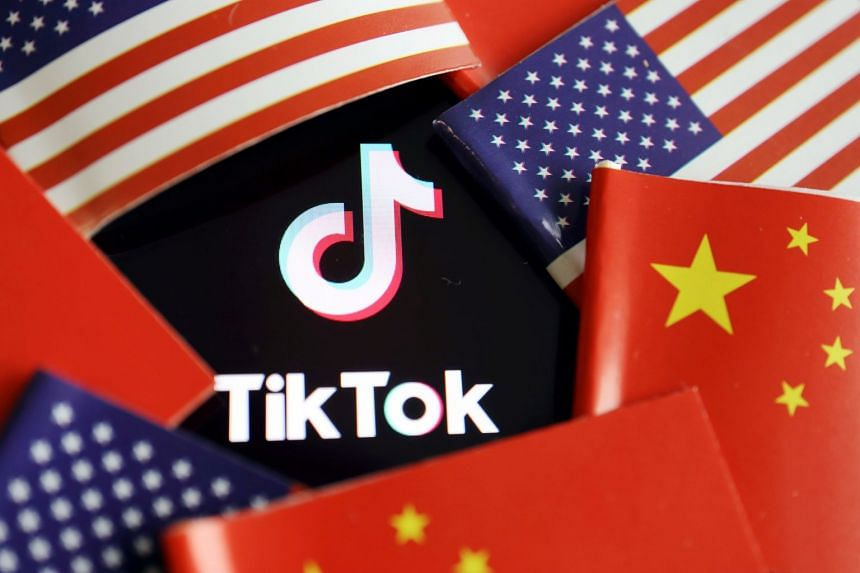 Chinese and US flags are seen near a TikTok logo in this illustration picture.