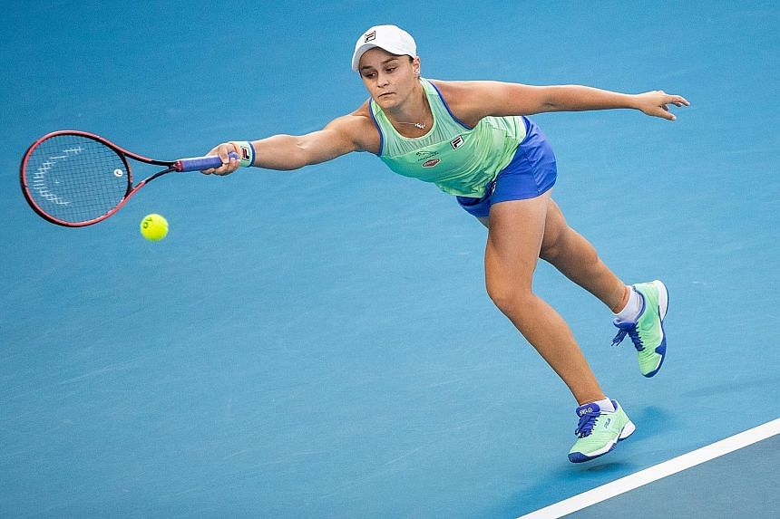 Ashleigh Barty during January's Australian Open in Melbourne. She confirmed herself and her team will not be travelling to New York for the US Open next month but are undecided on defending her French Open crown in Paris in September.