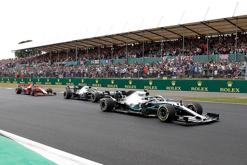 Fans cheering on Lewis Hamilton as the Briton chased Mercedes teammate Valtteri Bottas before claiming a sixth British Grand Prix win last year. He is seeking a record extending seventh victory on Sunday.