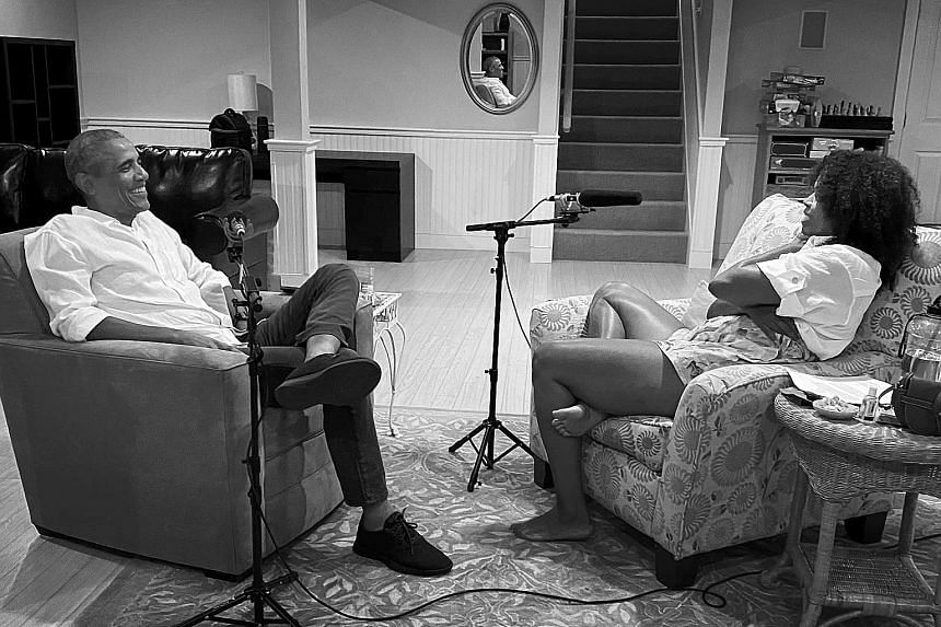 Mrs Michelle Obama and her guest, Mr Barack Obama, talk about community and family in the first episode of The Michelle Obama Podcast.