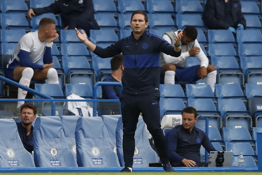 Chelsea manager Frank Lampard watches from the sidelines of the match between Chelsea and Wolverhampton Wanderers on July 26, 2020.