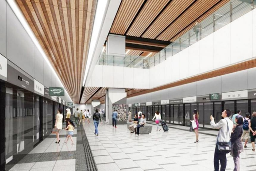 An artist's impression of Woodlands North station, to be connected to Johor Baru by the Rapid Transit System Link.