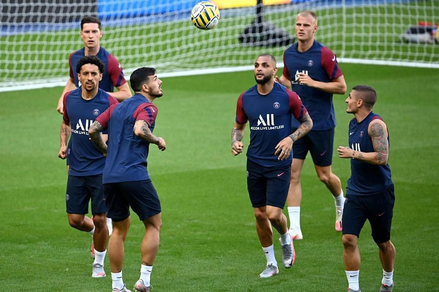 Paris Saint-Germain's Argentine midfielder Leandro Paredes attends a training session at the Stade de France stadium on July 30, 2020.
