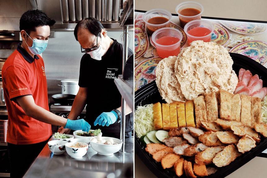 Clockwise from top right: Singapore's first social enterprise cloud kitchen, The Social Kitchen, is co-founded by Mr Alvin Yapp and Mr Ang Kian Peng (on left); a staff member from The Social Kitchen receiving training from an employee of Ming Fa Food