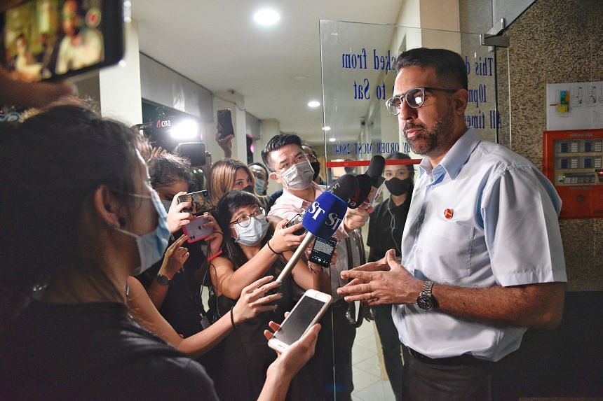 Workers' Party chief and Leader of the Opposition Pritam Singh speaking to the media on July 11, a day after the general election, where his party won 10 seats in three constituencies. ST PHOTO: DESMOND WEE