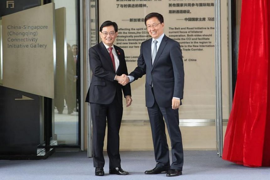 Deputy Prime Minister Heng Swee Keat with Chinese Vice-Premier Han Zheng in an October 2019 photo.