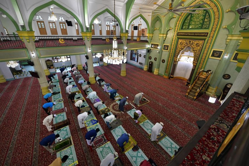 The usual prayer assembly at Masjid Sultan was this year split into two sessions of 50 people each.