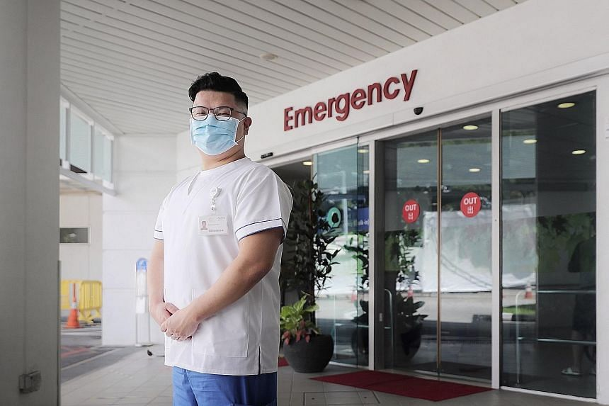Senior staff nurse Nathanael Tan keeps a distance from his wife and two young sons so that he will not unknowingly put them in danger.