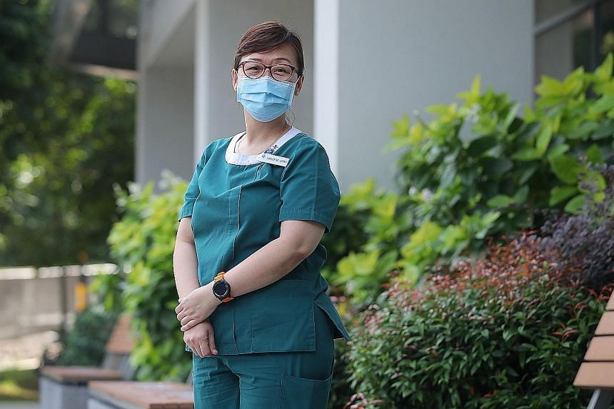 Ms Katherine Leong led the nursing team at the Tuas South community care facility, which was set up to house and take care of about 1,600 migrant workers with Covid-19 who were asymptomatic or had mild symptoms.