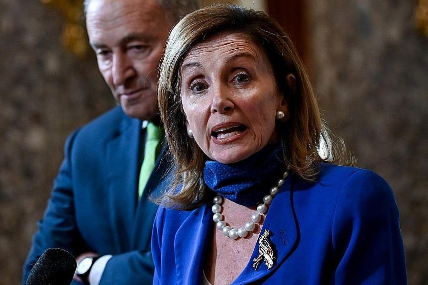 The House Speaker - now Ms Nancy Pelosi (far left) - and Senate president pro tem - now Mr Chuck Grassley (left) - are next in the presidential line of succession if no president or vice-president is chosen by the end of Mr Donald Trump's term. PHOTO