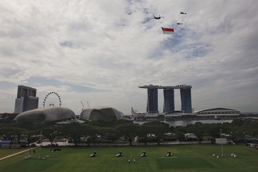 National Day Parade rehearsal at the Padang on Aug 1, 2020.