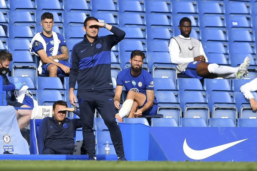 Chelsea's head coach Frank Lampard reacts during the English Premier League match between Chelsea and Wolverhampton Wanderers in London on July 26, 2020.