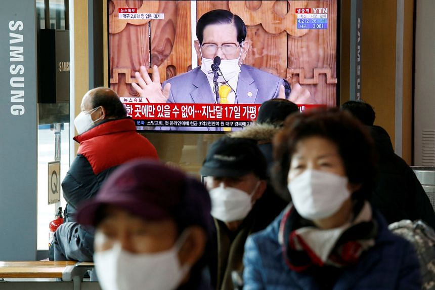 People watch a news conference held by Lee Man-hee, founder of the Shincheonji Church of Jesus the Temple of the Tabernacle of the Testimony, on March 2, 2020.