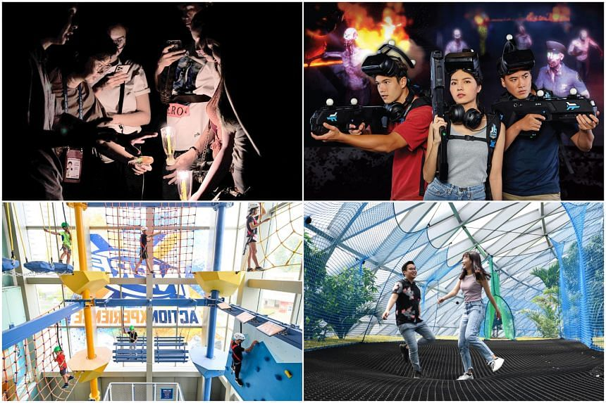 (Clockwise from top left) The Creepy Tales of Singapore tour, Undead Arena by Zero Latency, Jewel Changi Airport and Nerf Action Xperience at Marina Square.