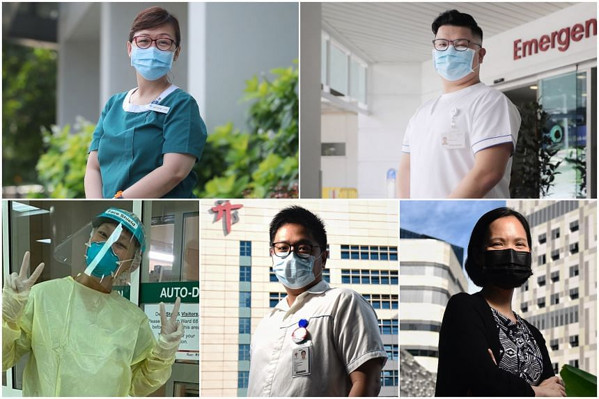 (Clockwise from top left) Ms Katherine Leong, Mr Nathaneal Tan, Dr Hoi Shu Yin, Mr Patrick Lin and Ms Noor Ayu Mohamed Amin cared for Covid-19 patients.