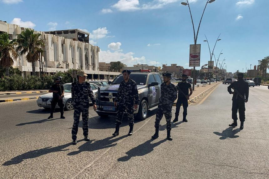 Security forces in Tripoli on July 20, 2020.