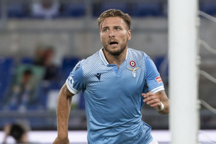 Immobile (above) took his tally to 36 goals, equalling the record set by Gonzalo Higuain for Napoli in the 2015-16 season.
