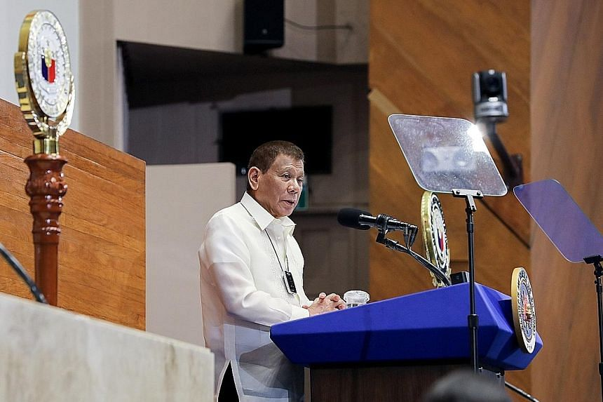 President Rodrigo Duterte at his State of the Nation Address in Quezon City, the Philippines, on Monday. The topic of succession looms as he grapples with one of the worst epidemic outbreaks and economic crises in the region.