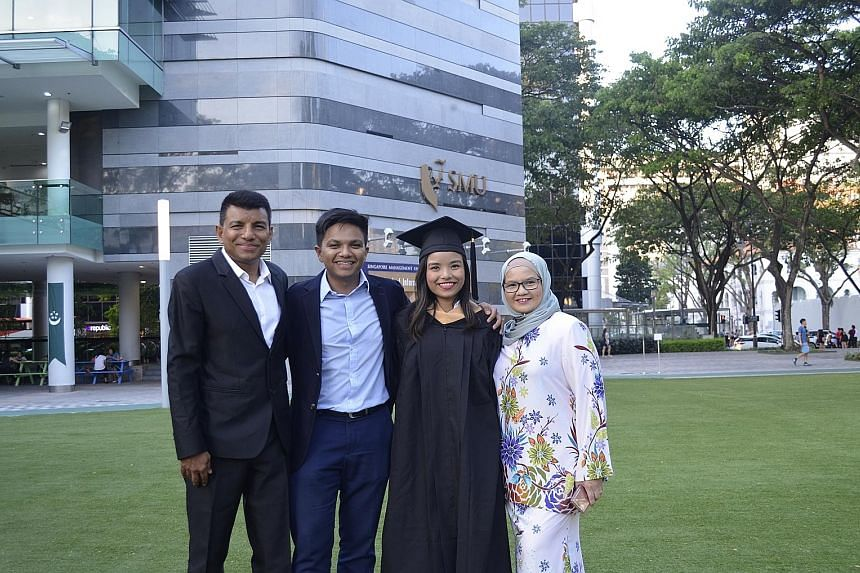 Ms Farah Malik (third from left) with (from left) her father, Mr Malik Shah, her brother, Mr Faris Malik, and her mother, Madam Fatimah Alwi, at her graduation ceremony. The siblings started a social enterprise that aims to provide students with affo