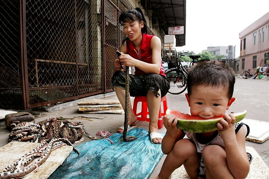 "The closed Huanan Seafood Wholesale Market in Wuhan, in China's central Hubei province. The original discovery of the coronavirus in the Wuhan market sparked calls in the United States and Europe for China to close its ""wet markets"". A boy enjoys a s"