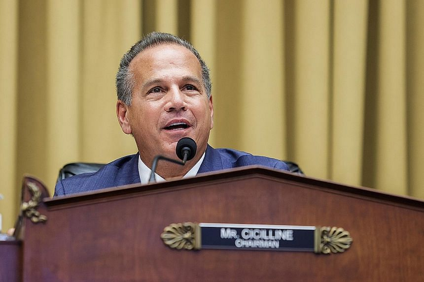 """Mr David Cicilline, chairman of the US House Judiciary Committee's antitrust subcommittee, speaking during a hearing on """"Online Platforms and Market Power"""" at Capitol Hill, Washington, last Wednesday. The panel's questions were targeted at Amazon, Ap"""