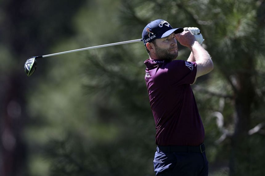 Grace plays his shot from the 11th tee during the first round of the Barracuda Championship.