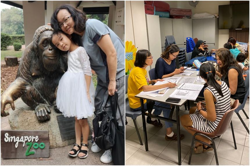 Ms Yu Ling attends English classes by non-profit organisation ReadAble with her daughter Siqing.