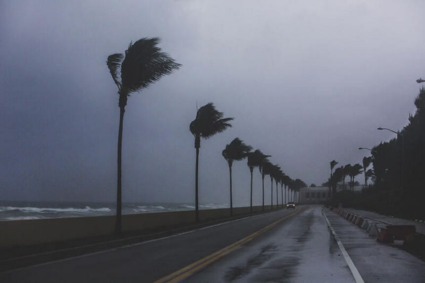 Winds are seen in Palm Beach, Florida, as tropical storm Isaias approaches on Aug 1, 2020.
