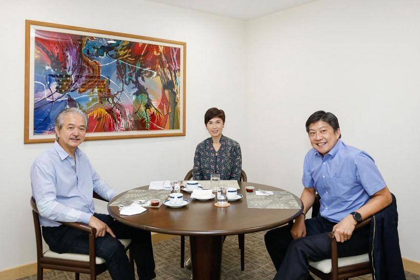 Manpower Minister Josephine Teo at a recent meeting with NTUC secretary-general Ng Chee Meng (right) and SNEF president Robert Yap to share information on ground concerns.
