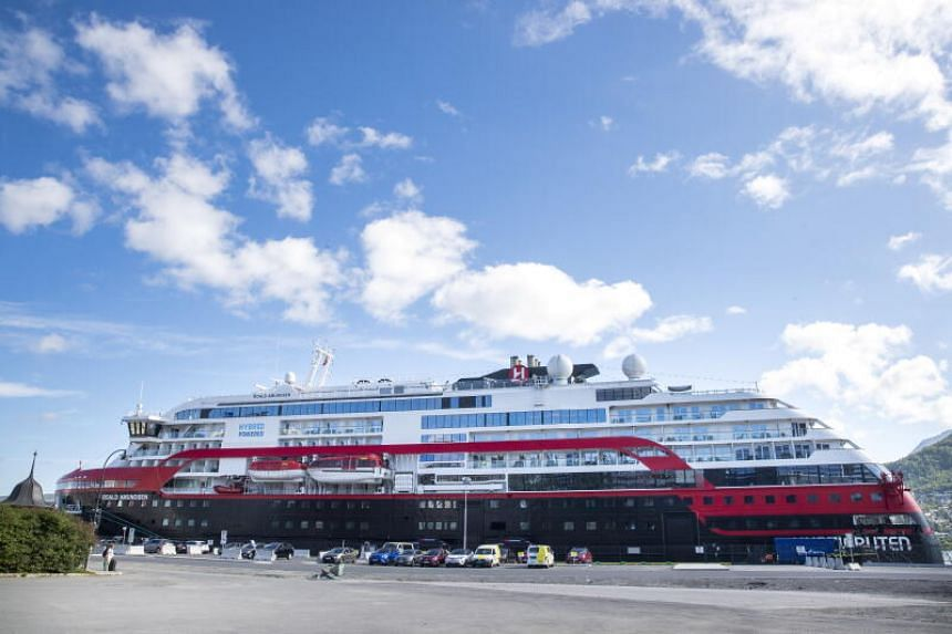 The expedition ship MS Roald Amundsen at quay in Tromso, Norway, on Aug 2, 2020.