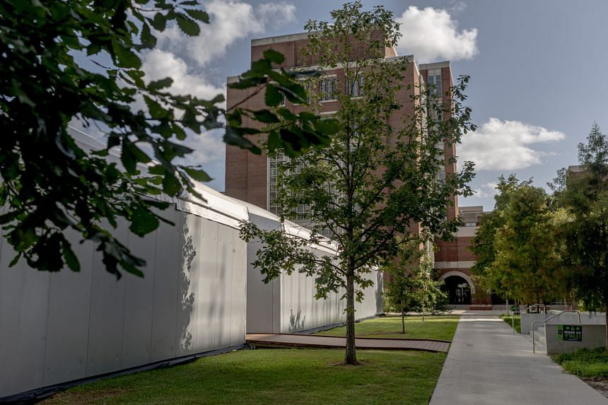 Temporary classrooms on the campus of Tulane University in New Orleans, US, on July 31, 2020.