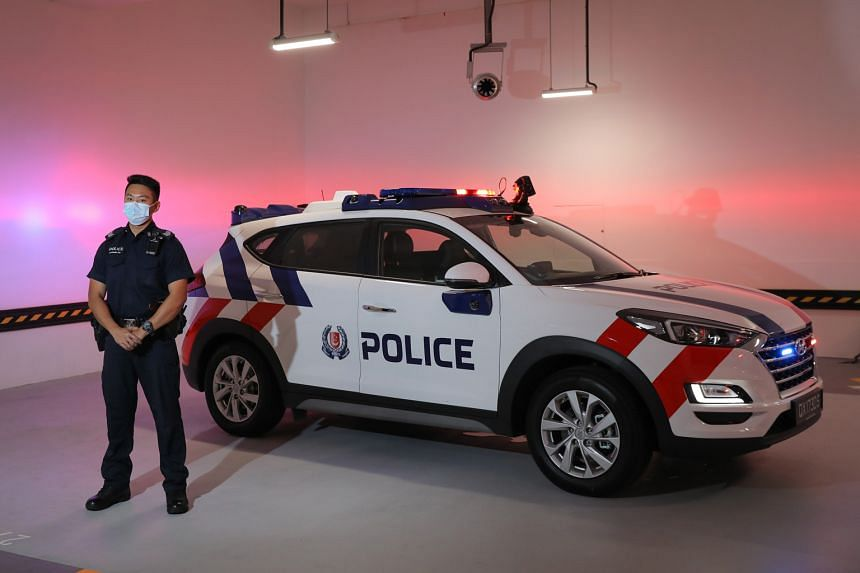Sergeant Raymond Lim Zhao Meng, a Ground Response Force officer at the Woodlands West Neighbourhood Police Centre, with the next-generation fast-response car at a media preview last Thursday. The public will be able to view the vehicle, which will be
