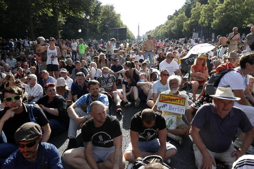 "Around 20,000 people took part in the ""day of freedom"" demonstration in Berlin on Aug 1, 2020."