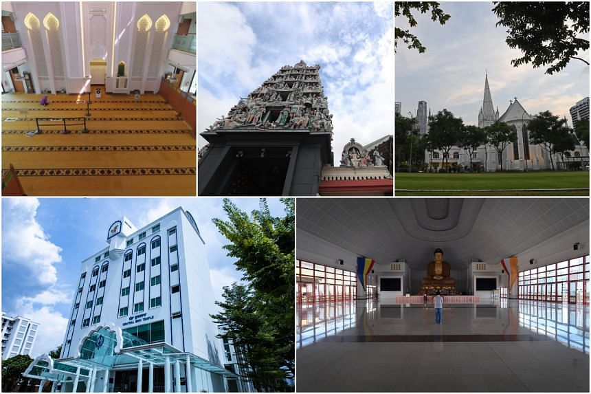 (Clockwise from top left) Masjid Mujahidin, Sri Mariamman Temple, St Andrew's Cathedral, Kong Meng San Phor Kark See Monastery and Central Sikh Temple are among the selected sites.