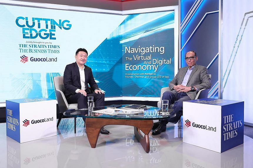 Mr Forrest Li, founder of NYSE-listed Singapore company Sea, with Straits Times associate editor Vikram Khanna during the Cutting Edge virtual forum last Thursday.