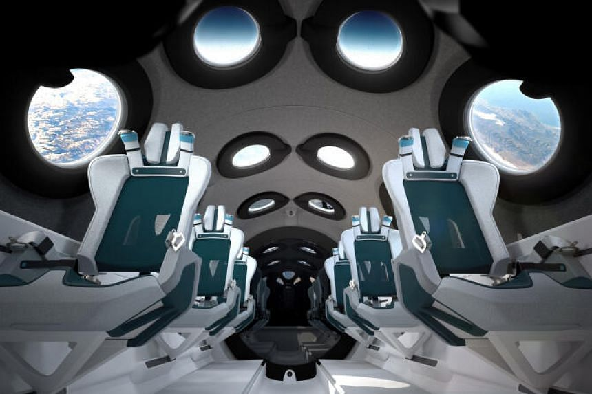 The interior cabin of billionaire Richard Branson's space tourism firm Virgin Galactic's SpaceShipTwo is seen in an artist's rendition released July 28, 2020.
