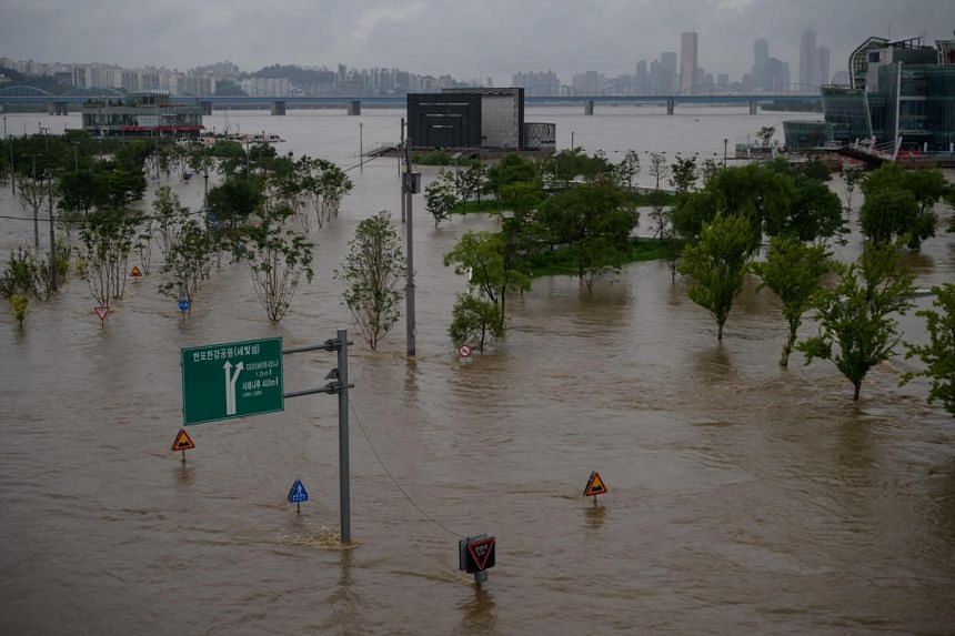 A submerged park beside the Han River in Seoul on Aug 3, 2020.