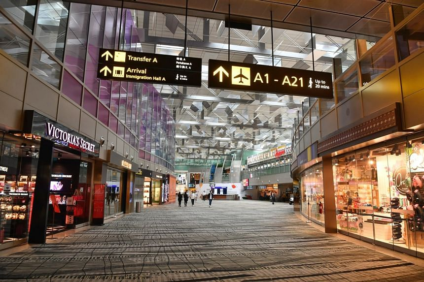 A quiet transit area in Terminal 3 of Changi Airport, on Aug 3, 2020.