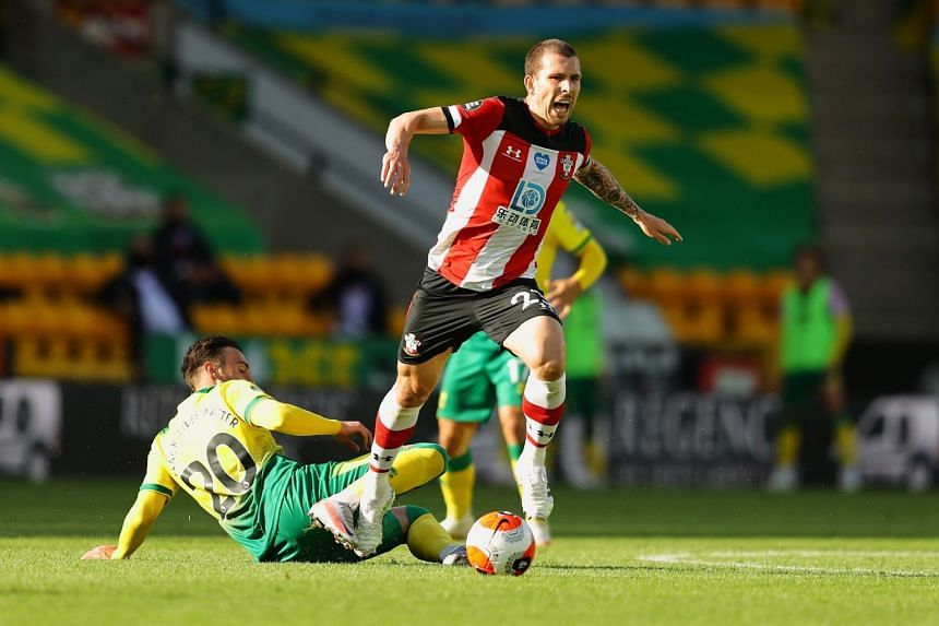 Southampton's Pierre-Emile Hojbjerg in action with Norwich City's Josip Drmic.