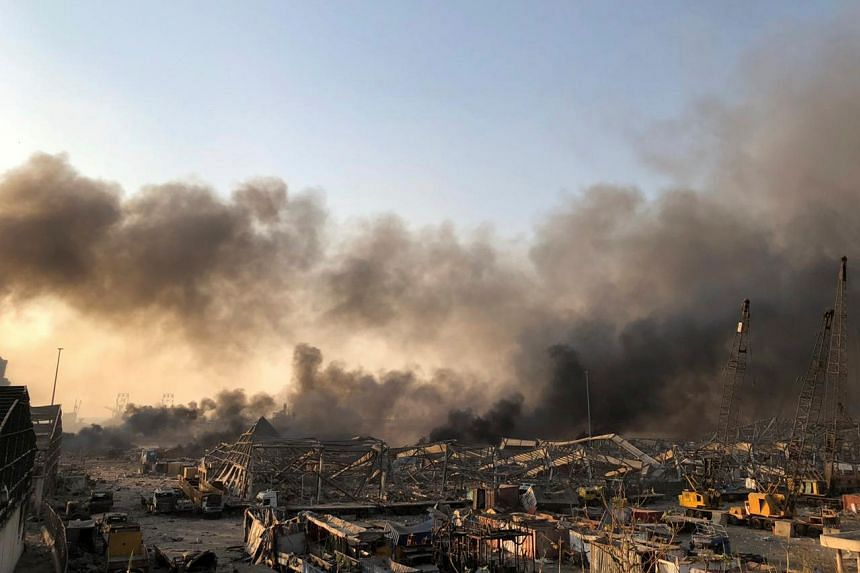 Smoke rises after the explosion.