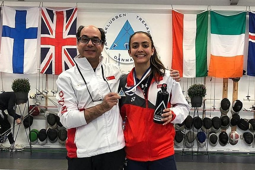 Fencer Amita Berthier was training in Kentucky with coach Amgad Khazbak before her plans were derailed by Covid-19