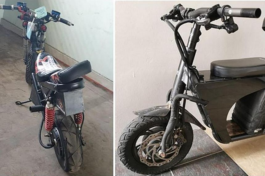 The suspects, aged between 16 and 25, were nabbed after a video of them riding on personal mobility devices (above) and e-bikes on the road surfaced online.