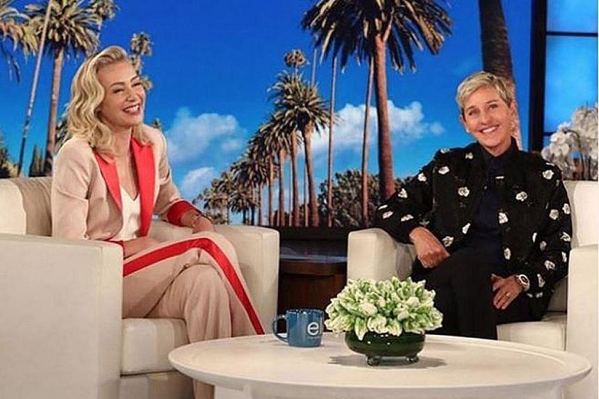 Actress Portia de Rossi (above, left) with host Ellen DeGeneres in an episode of her talk show.