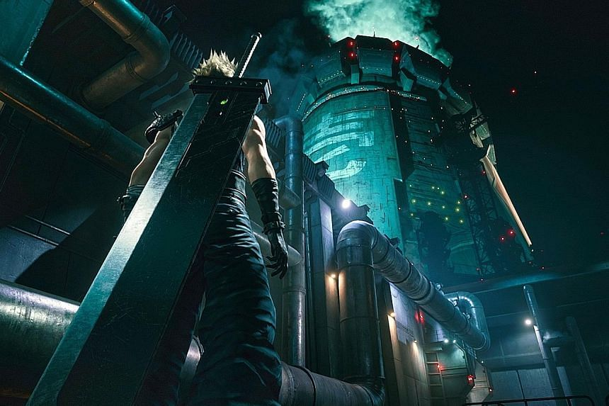 A still from Final Fantasy VII Remake. The game was first released in 1997, so its graphics were limited by the technology at the time, but it has since been updated for a modern gaming experience.