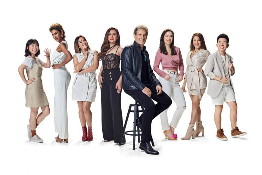 Judges Michael Bolton and Morissette Amon (both in black) and the contestants of reality singing competition Asian Dream.