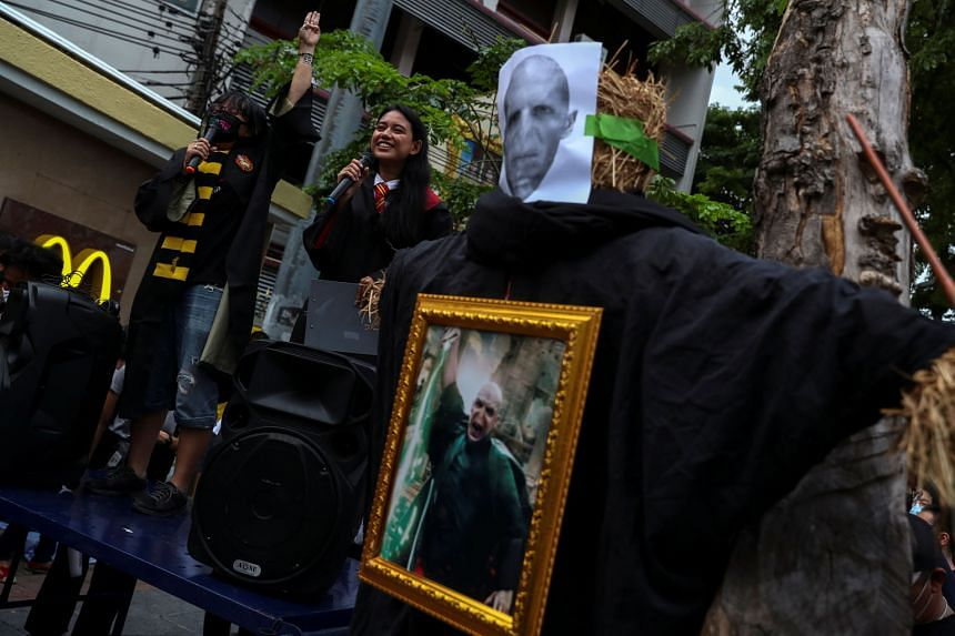 Protesters demanding the resignation of Thai Prime Minister Prayut Chan-o-cha at the Harry Potter-themed rally in Bangkok, where images of Voldemort, the main antagonist in the book and film series, were displayed. PHOTO: REUTERS
