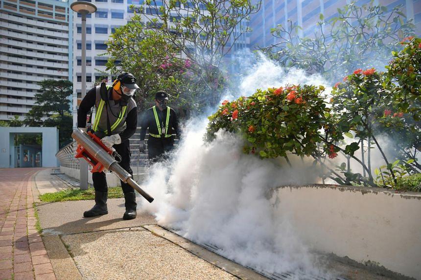 Fogging being done near Block 615 Bukit Panjang Ring Road on July 23, 2020.